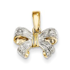 14k Yellow Gold Bow Diamond Pendant