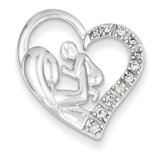 <strong>Goldia</strong> 14k White Gold Mother and Baby Diamond Heart Pendant