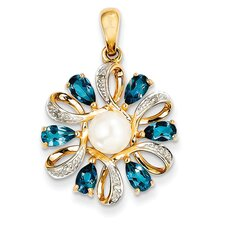 <strong>Goldia</strong> 14k Yellow Gold Cultured Pearl Topaz Pendant
