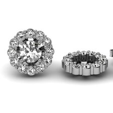 <strong>Dazzling Rock</strong> Flower Round Cut Diamond Cluster Jackets for Stud Earrings