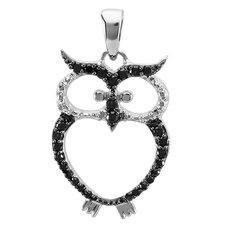 Sterling Silver Diamond Owl Pendant