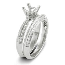 <strong>Dazzling Rock</strong> 14K White Gold Round Cut Semi-Mount Diamond Bridal Set