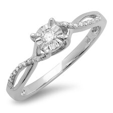 <strong>Dazzling Rock</strong> 10K White Gold Round Cut Diamond Ring