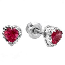 <strong>Dazzling Rock</strong> Heart Cut Tourmaline and Diamond Halo Stud Earrings