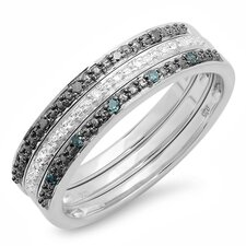 <strong>Dazzling Rock</strong> Sterling Silver Round Cut Diamond Anniversary Wedding Band (Set of 3)