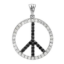 10K White Gold Diamond Peace Pendant