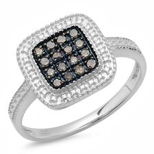 <strong>Dazzling Rock</strong> Sterling Silver Round Cut Diamond Cocktail Ring