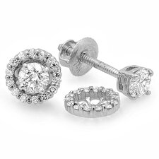 <strong>Dazzling Rock</strong> Round Cut Diamond Halo Stud Earrings