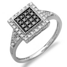Sterling Silver Round Cut Diamond Cocktail Ring