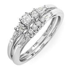 10K White Gold Brilliant Round Cut Diamond Bridal Set