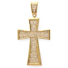 Sterling Silver Diamond Hip Hop Cross Pendant