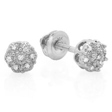 <strong>Dazzling Rock</strong> Flower Round Cut Diamond Cluster Stud Earrings