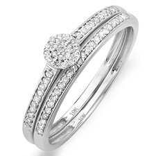 <strong>Dazzling Rock</strong> 10K White Gold Round Cut Diamond Bridal Set