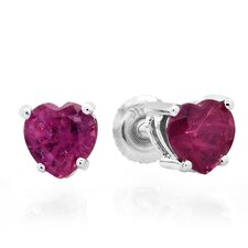 <strong>Dazzling Rock</strong> Heart Cut Ruby Stud Earrings