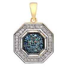 14K Yellow Gold Diamond Octagon Pendant