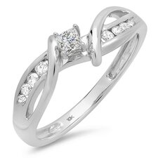 <strong>Dazzling Rock</strong> 10K White Gold Princess Cut Diamond Ring