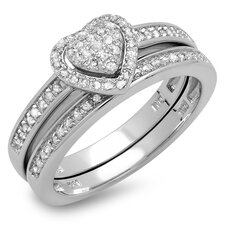 Sterling Silver Round Cut Diamond Heart Bridal Set