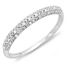 14K White Gold Round Cut Diamond Anniversary Wedding Band
