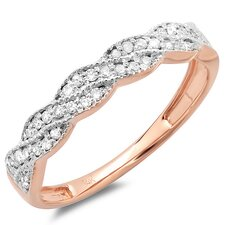 <strong>Dazzling Rock</strong> 14K Rose Gold Round Cut Diamond Swirl Anniversary Wedding Band