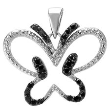 Sterling Silver Diamond Butterfly Pendant