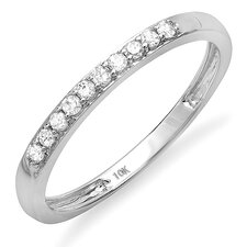 <strong>Dazzling Rock</strong> 10K White Gold Round Cut Diamond Anniversary Wedding Band