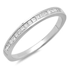 10K White Gold Princess Cut Diamond Anniversary Wedding Band