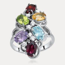 Rainbow Sterling Silver Oval Cut Gemstone Ring