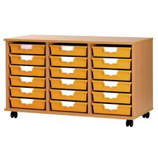 18 Tray Low Wood Cabinet