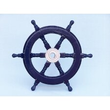 <strong>Handcrafted Model Ships</strong> Deluxe Class Ship Steering Wheel Wall Décor