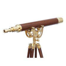 <strong>Handcrafted Model Ships</strong> Floor Standing Brass/Wood Anchormaster Telescope