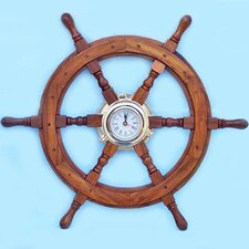 <strong>Handcrafted Model Ships</strong> Deluxe Class Oversized Ship Wheel Wall Clock