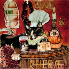 "8"" x 8"" Wine Cheese Chef Cat Tile"