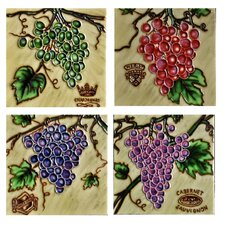 "4"" x 4"" Grapes Tiles (Set of 4)"