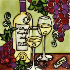 "8"" x 8"" Whimsical Wine Piont Grigo Tile"