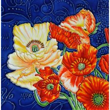 "8"" x 8"" Poppies Blue Background Tile"