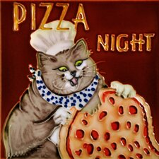 "8"" x 8"" Pizza Night Chef Cat Tile"