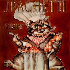"8"" x 8"" Spaghetti Night Chef Cat Tile"