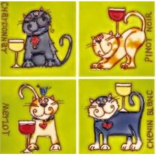 "4"" x 4"" Wine Cats Art Tile in Green (Set of 4)"