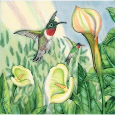 "8"" x 8"" Callas Lily and Hummingbird Art Tile in Multi"