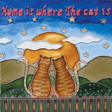 "8"" x 8"" Home Is Where the Cat with Two Cats Art Tile in Multi"