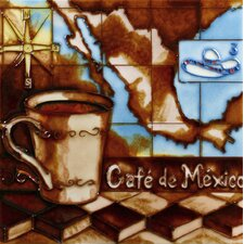 "8"" x 8"" Mexico Coffee Map Art Tile in Brown"