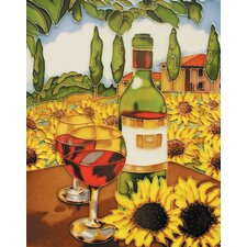 "14"" x 11"" Wine with Sunflower Art Tile in Multi"