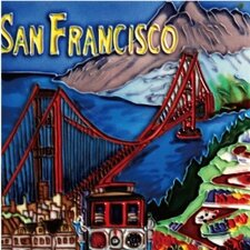 "<strong>En Vogue</strong> 8"" x 8"" San Francisco Golden Bridge Art Tile in Red"