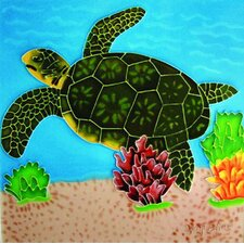 "8"" x 8"" Turtle Art Tile in Light Green"