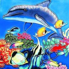 "<strong>En Vogue</strong> 8"" x 8"" Dolphin with Fish Art Tile in Blue"