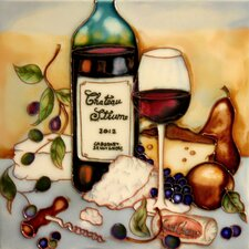 "8"" x 8"" Wine and Cheese Tasting Art Tile in Multi"