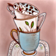 "8"" x 8"" English Tea Cups with Plate Art Tile in Multi"