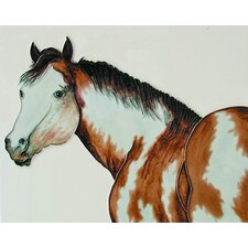 "14"" x 11"" Single Horse Art Tile in Multi"