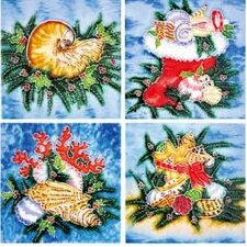 "4"" x 4"" Sea Shell Art Tile in Multi (Set of 4)"