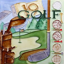 "8"" x 8"" Sport Golf Art Tile in Multi"